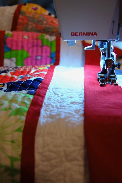 Binding the vintage scrap quilt