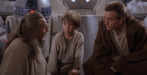 Liam Neeson, Jake Lloyd and Ewan McGregor demonstrate how being still makes them look like better actors than any lines George Lucas might write for them to speak.