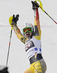 Erin Mielzynski finishes a stellar slalom run to take the World Cup victory in Ofterschwang, Germany.