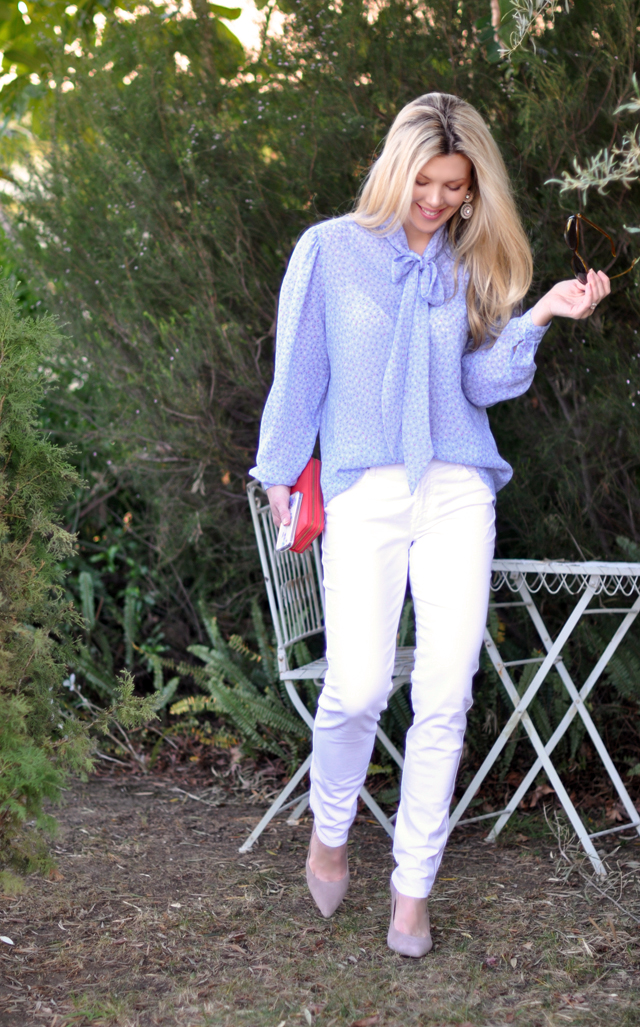 white pants -jeans-vintage blouse-spring outfit