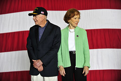 SAN DIEGO (March 10, 2012) Former President Jimmy Carter and former First Lady Rosalynn Carter receive an ovation during a lunch hosted aboard amphibious assault ship USS Peleliu (LHA 5). (U.S. Navy Photo by Mass Communications Specialist 2nd Class Palovich)