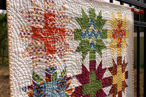 Star Crossed Stitch quilt - washed detail #1