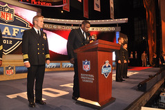 A Sailor announces the third round draft pick of the 2012 NFL Draft.