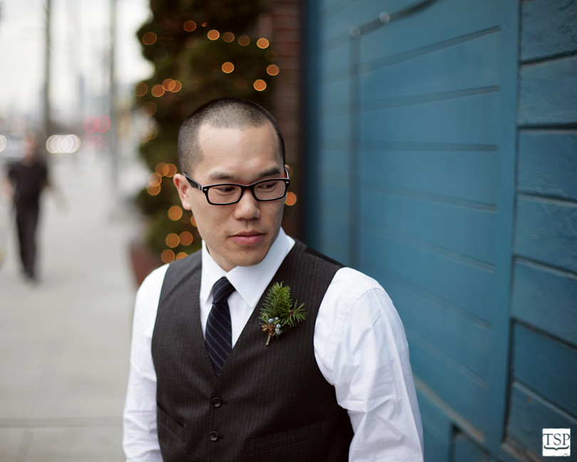 Groom in Vest on Sidewalk