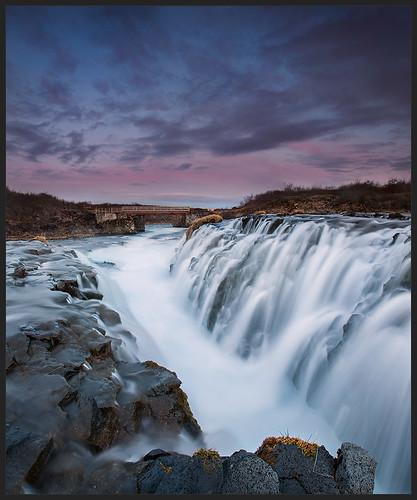 pink sunset waterfall iceland ísland canonef1740mmf4l brúarfoss brúará canon5dmarkii lee09hardgrad