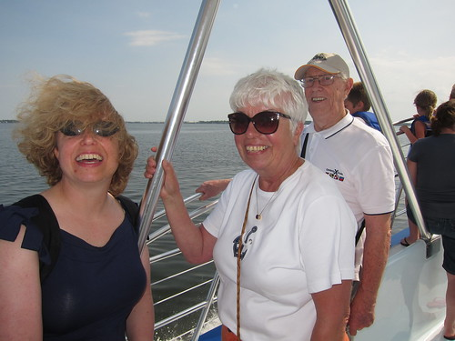 Vicki, Grunhild, and Willi on the Dolpin boat