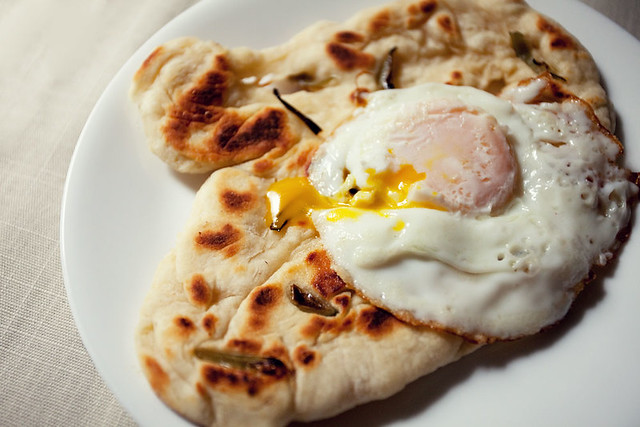 Fried egg and flatbread