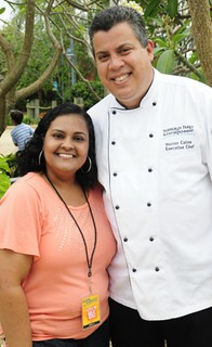 Melanie Edwards with SeaWorld Executive Chef Héctor Colón