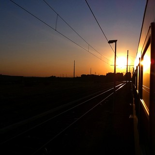 train sunset