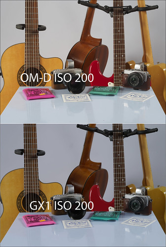 Comparison between OLYMPUS OM-D EM-5 and PANASONIC GX1 with 45mm f/1.8 lens at ISO 200