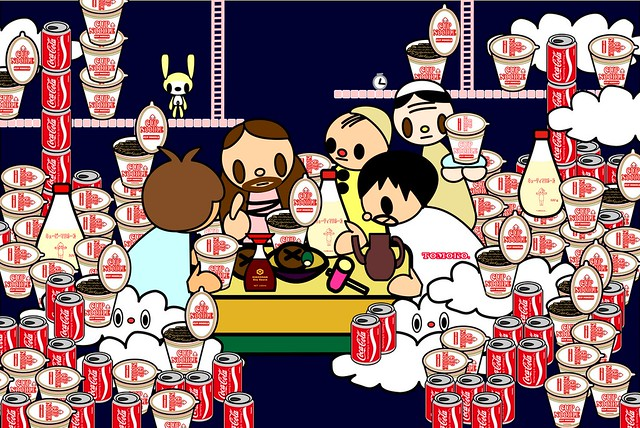 caravaggio_cena with cocacola, cupnoodle, kewpie and kikkoman [50%]
