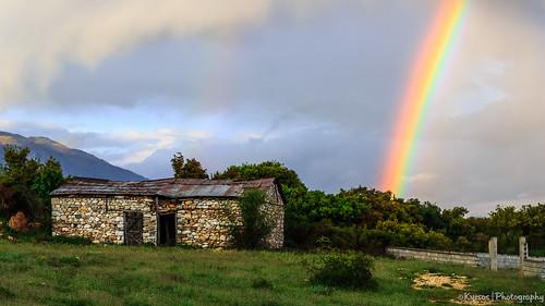Rainbow over Paggaio mountain