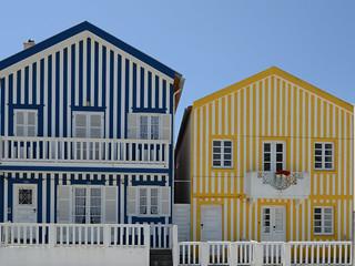 Traditional houses on Costa Nova, Aveiro, Portugal