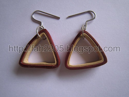 Paper Jewelry - Handmade Quilling Earrings (Triangle) by fah2305
