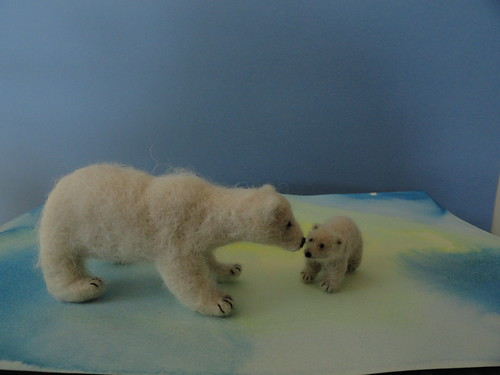 Needle felted polar bear and cub