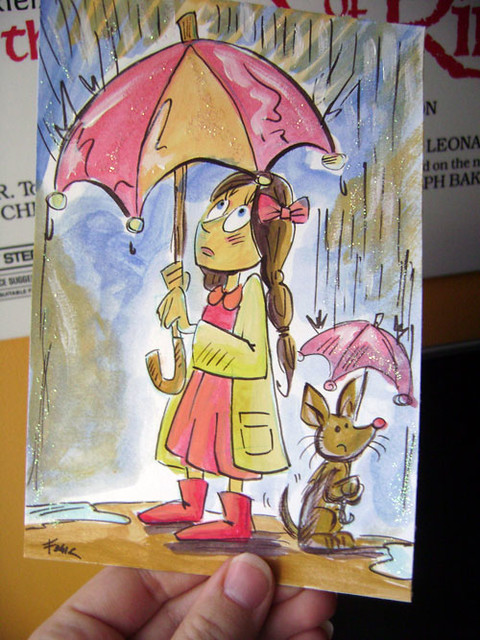 girl-umbrella-dog-diy-postcard-illustration