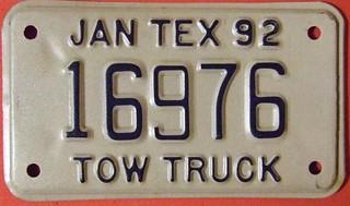 TEXAS 1992 ---TOW TRUCK SUPPLEMENTAL LICENSE PLATE