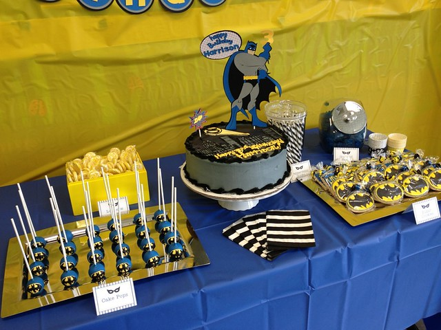 Batman cake pops and display for a 3 yr old birthday