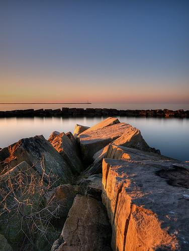 longexposure sunset ohio lake water rock night cleveland wide olympus greatlakes clear nd erie e3 zuiko breakwall zd zd1454mm 10stops