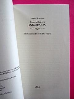 Joseph Hansen, Scomparso, elliot 2012. Cover design & illustration: IFIX. frontespizio. (part.), 2