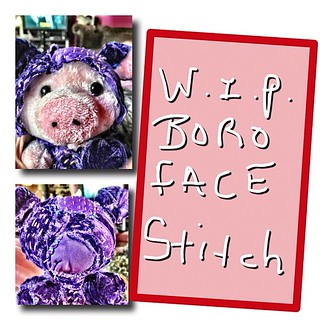 W.I.P. Face Stitch on plush pig #borostitching #boro #fabricart #textileart #louisiana #shreveport #kathrynusher