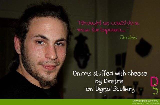 Onions stuffed with cheese by Dimitris