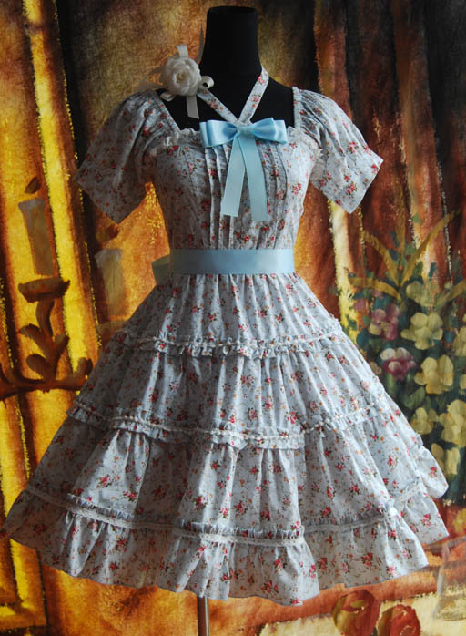 Infanta_Halter_Bowknot_Lace_Up_Printed_Cotton_Lolita_Dress