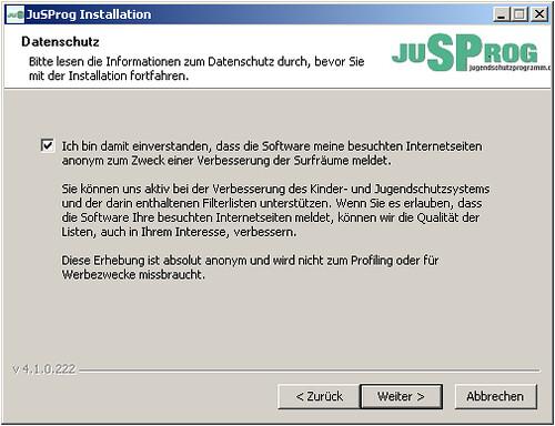 Screenshot jugenschutzprogramm.de Webseiten melden