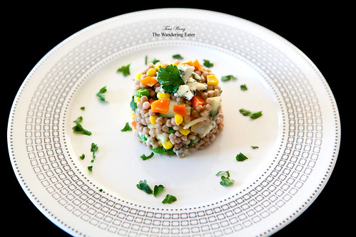 Whole wheat couscous salad with vegetables and Buttermilk Blue cheese