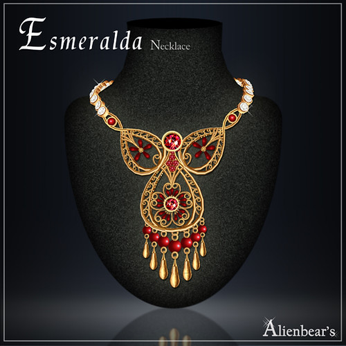 Esmeralda necklace gold red