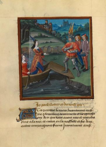 007-Corazon, Deseo y Largueza desembarcan en la isla de Compañia y Amistad-fol. 58-Le livre du Coeur d'amour épris, par le roi René d'Anjou-1460-BNF