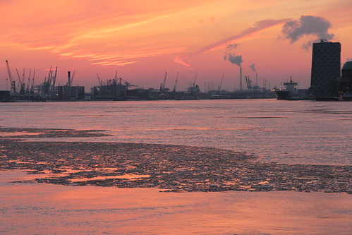 Sunset in the harbour of Rotterdam