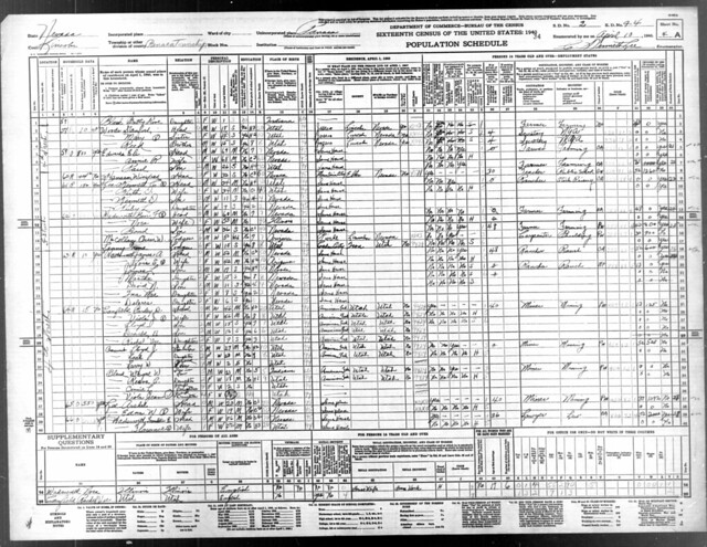 1940 Census Nevada Franklin Ernest
