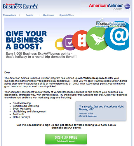 BusinessExtrAA offer from my Gmail inbox