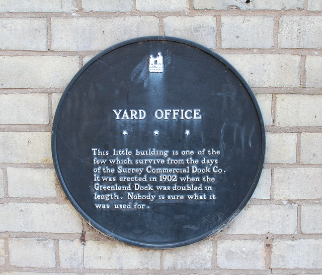 Black plaque № 9211 - Yard Office. This little building is one of the few which survive from the days of the Surrey Commercial Dock Co. It was erected in 1902 when the Greenland Dock was doubled in length. Nobody is sure what it was used for.