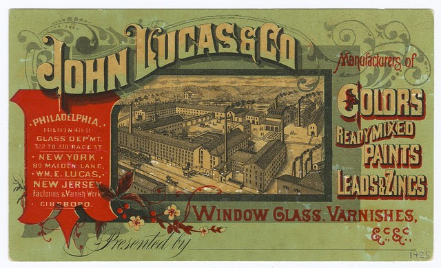 colourful early 20th century paint company business card