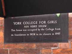 Photo of York College for Girls bronze plaque
