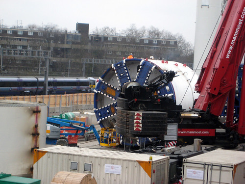 Tunnel Boring Machine - Train in background - Crossrail