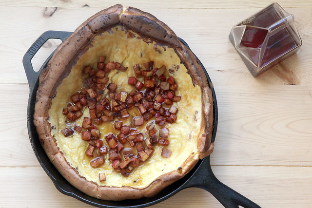 Dutch Baby with Bacon and Roasted Apples and Maple Syrup 2