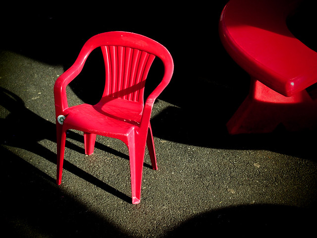 Red Chair and Bench