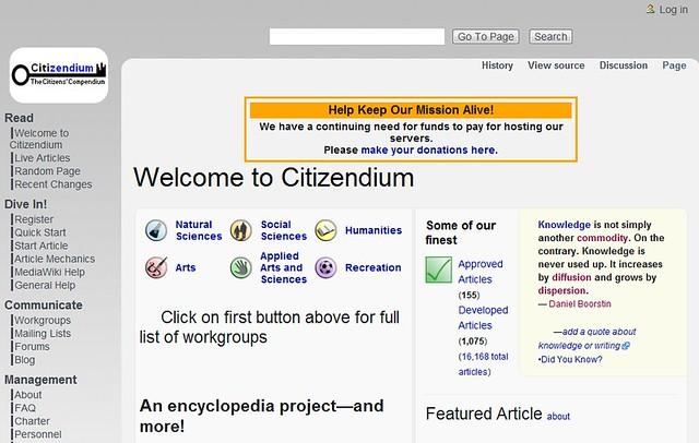 Wiki_Citizendium উইকিপিডিয়ার বিকল্প কিছু ওয়েবসাইট