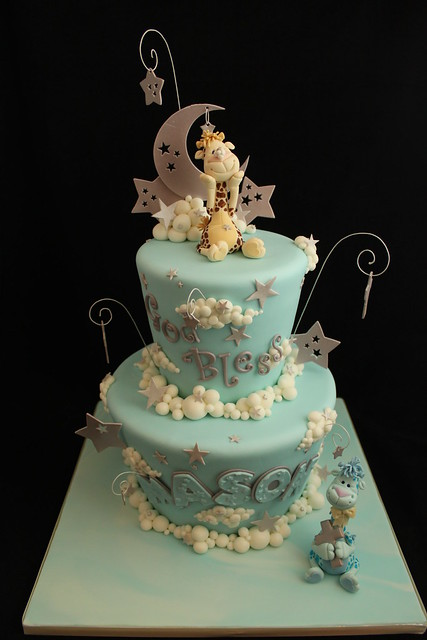 Moon, stars, and clouds Baptism cake