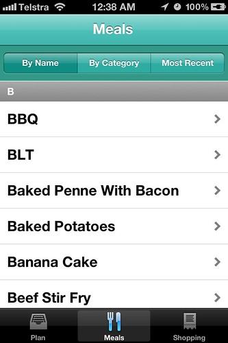 Menu Planner App - Meals