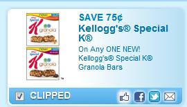 $0.75 Off 1 Kellogg