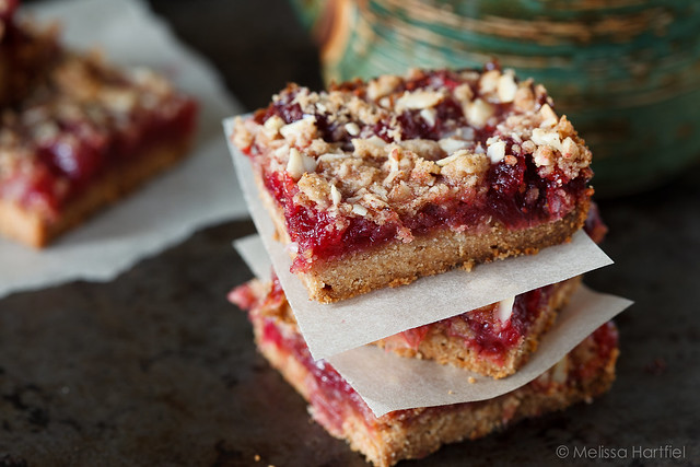 Cranberry Crumble Bars closeup
