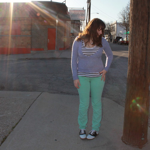 Mint green and lavender outfit: BDG mint green jeans from Urban Outfitters, vintage saddle oxfords, black and white striped tank from Gap, thrifted sparkly lavender v-neck sweater, DIY Amélie