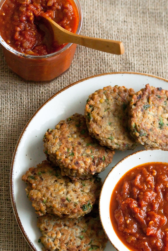 Red Lentil Cakes with Tomato Jam