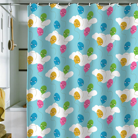 Kawaii Balloons Shower Curtain