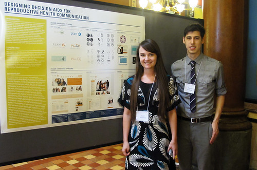 Graphic design seniors Leah Willadsen & Brandon Alvarado showcase research at the Capitol