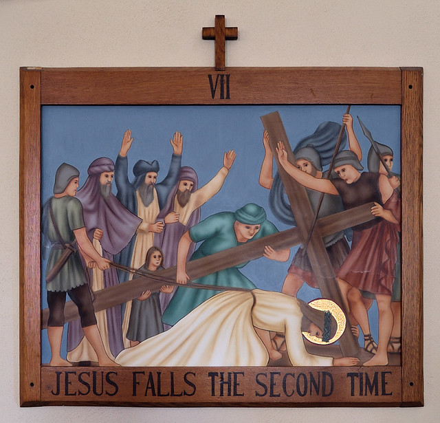Church of the Risen Savior (Saint Joseph), in Rhineland, Missouri, USA - VIIth Station of the Cross, Jesus falls the second time